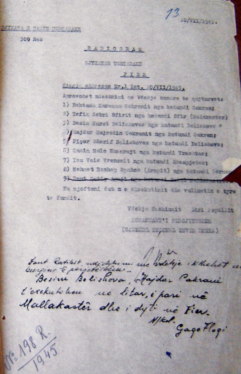 Urdhri i E.Hoxhës për pushkatimin e Bektash Cakranit e të tjerëve. Cakrani ishte propozuesi i ministrave në Kongresin e Lushnjës