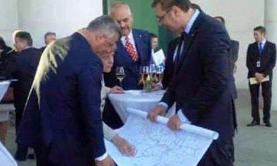 Thaçi, Rama dhe Vuçiq gjatë marrëveshjes për ndarjen dhe shkatërrimin e shtetit të Kosovës