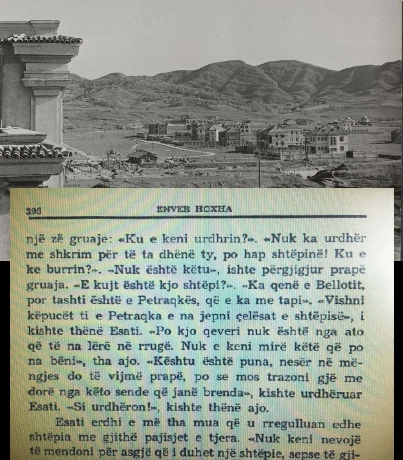 """Pamje e zonës kur filluan pallatet e nëpunësve në zonën që u quajt pas lufte """"Blloku i udhëheqjes"""" dhe faksimile nga libri i diktatorit ku flitet për shtëpinë"""