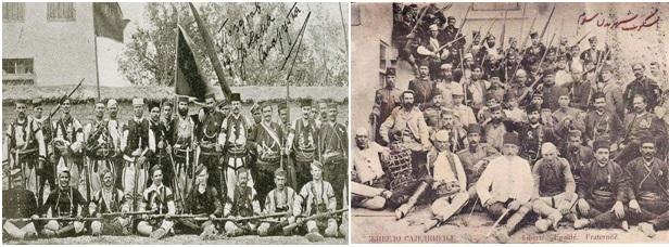 Foto, 1 dhe 2. Bandat e çetnikëve serbë që gjatë vitit 1905-1908, vepruan  në  shqiptare të Maqedonisë së sotme