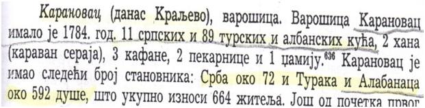 Fig. 1. Dëshmi nga literature serbe, se Kraleva në vitin 1784, i  kishte vetëm 11 shtëpi serbe dhe 89 shqiptare.