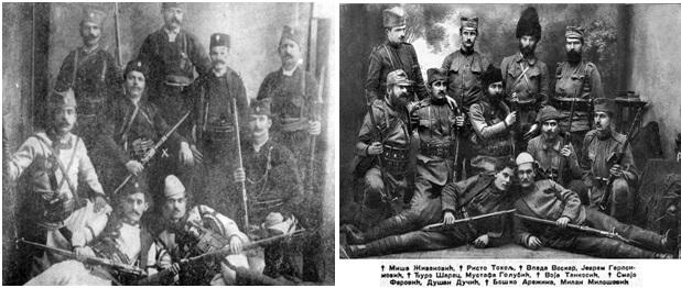 Foto 15. Çetniku serbë Stefan Nedici me grupin e tij dhe Foto 16. Vojsllav Tankosici, me grupin e tij të çetnikëve në Merdarë, gjatë vitit 1912