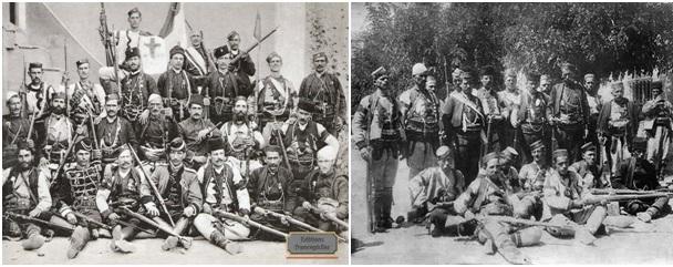 Foto 6 dhe foto 7. Banda të çetnikëve serbë të organizuar nga Dra e Zezë, në trevat shqiptare të Maqedonisë