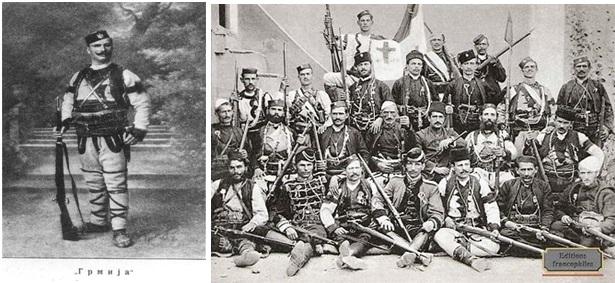 Foto 13. Sava Petrovic Germija, në formacionet çetnike mes viteve 1906-1908, dhe  Foto 14. Živko Gvozdić, (i ulur në rendin e parë nga ana e majtë)