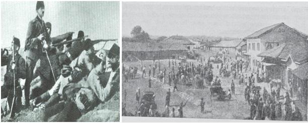 Foto 19 dhe 20. Pushtimi i Kumanovës nga forcat serbe më 22-24 tetor 1912.