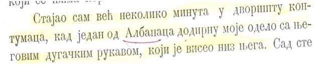 Fig. Përshkrimi i konfliktit të Dragishës me një shqiptarë në Beograd në praninë e një oficeri austriak