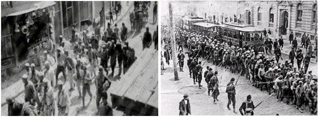 Foto 21. Shqiptarët e arrestuar nga ushtria turke në vitin 1912. Foto 22. Shqiptarët e arrestuar në vitin 1912 nga serbët në qytetin e Shkupit e të cilët u dërguan në Beograd