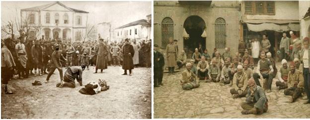 Foto 24 dhe 25. Ushtarët serbë duke i torturuar shqiptarët në Prishtinë gjatë vitit 1913